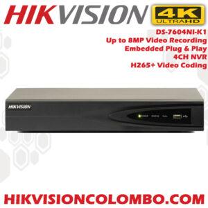 Hikvision-DS-7604NI-K1-Embedded-Plug-&-Play-4-channel-265+-NVR-Network-Video-Recorder-srilanka