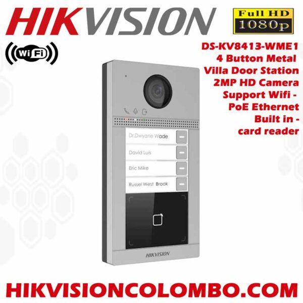 Hikvision DS-KV8413-WME1 Wireless 4 Buttons Metal Villa Video Door Station - Best deals - Best Price Sri Lanka