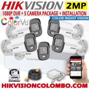 Hikvision 1080P Day and Night Color 5 Camera package sri lanka best price
