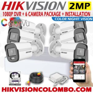 2 Mega Pixel Color Night Vision Camera Hikvision 6 CCTV Package Sri Lanka